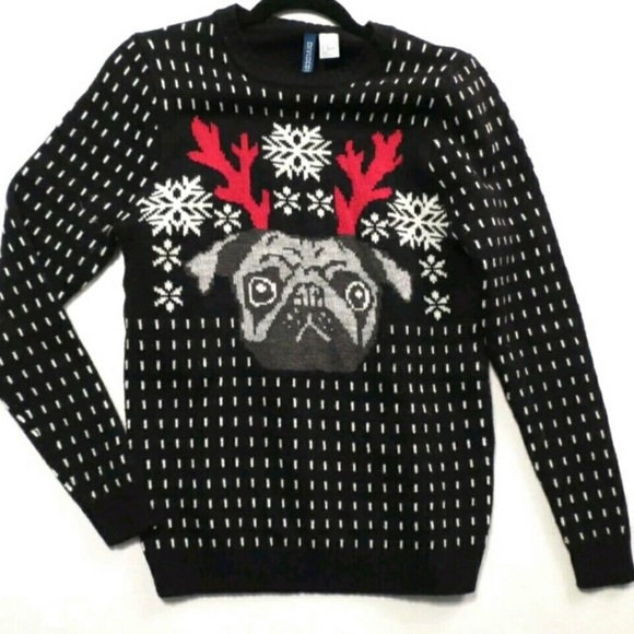 8ceb8f75412b H&M Sweaters | Hm Divided Reindeer Pug Unisex Christmas Sweater ...